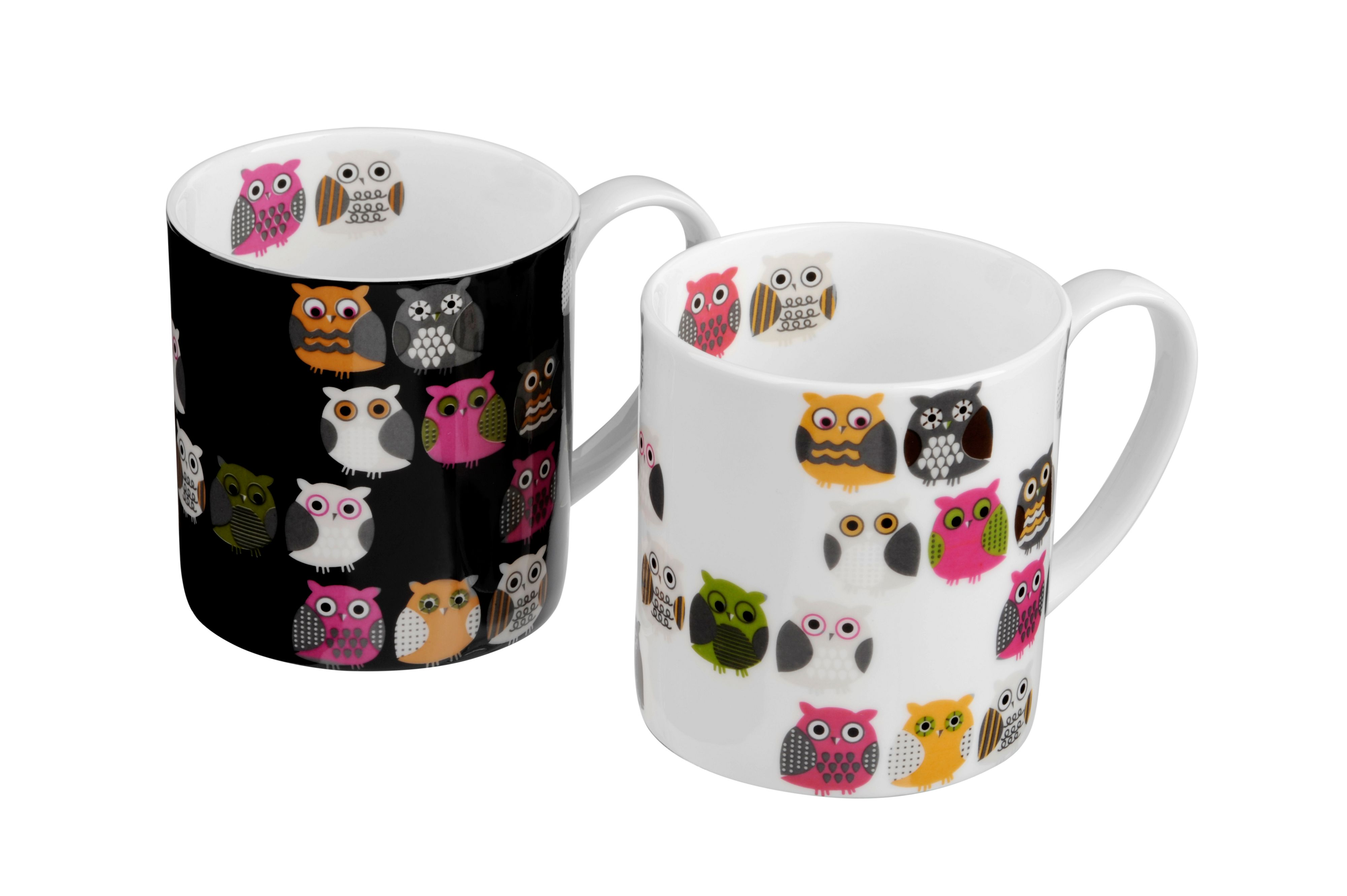 Pair of bone china Hoot mugs