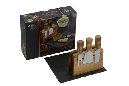 Arthur Price Set of 3 cheese knives with rectangle slate board