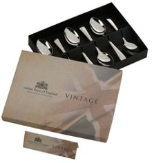 Vintage stainless steel box 6 english tea spoons