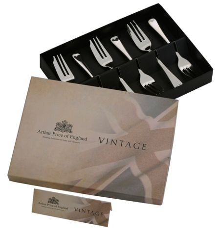 Arthur Price Vintage stainless steel box 6 english pastry fork