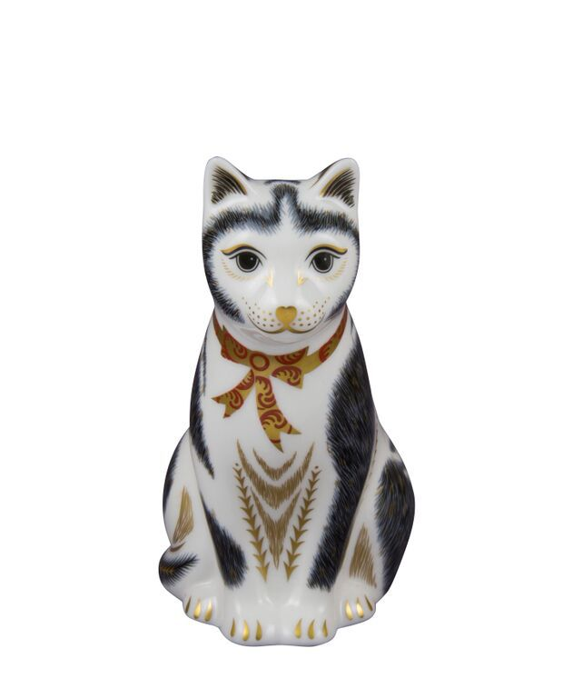 Royal Crown Derby Royal Crown Derby Mother black and white cat paperweight