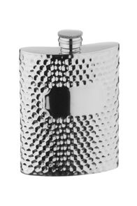 Hammered style pewter 6 oz hip flask