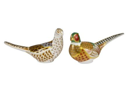 Royal Crown Derby Pair of pheasants paperweight
