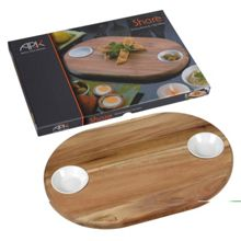 Arthur Price Wooden Sharing board and 2 ceramic dip dishes