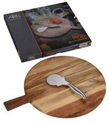 Arthur Price Luxury wooden Pizza board and pizza cutter set