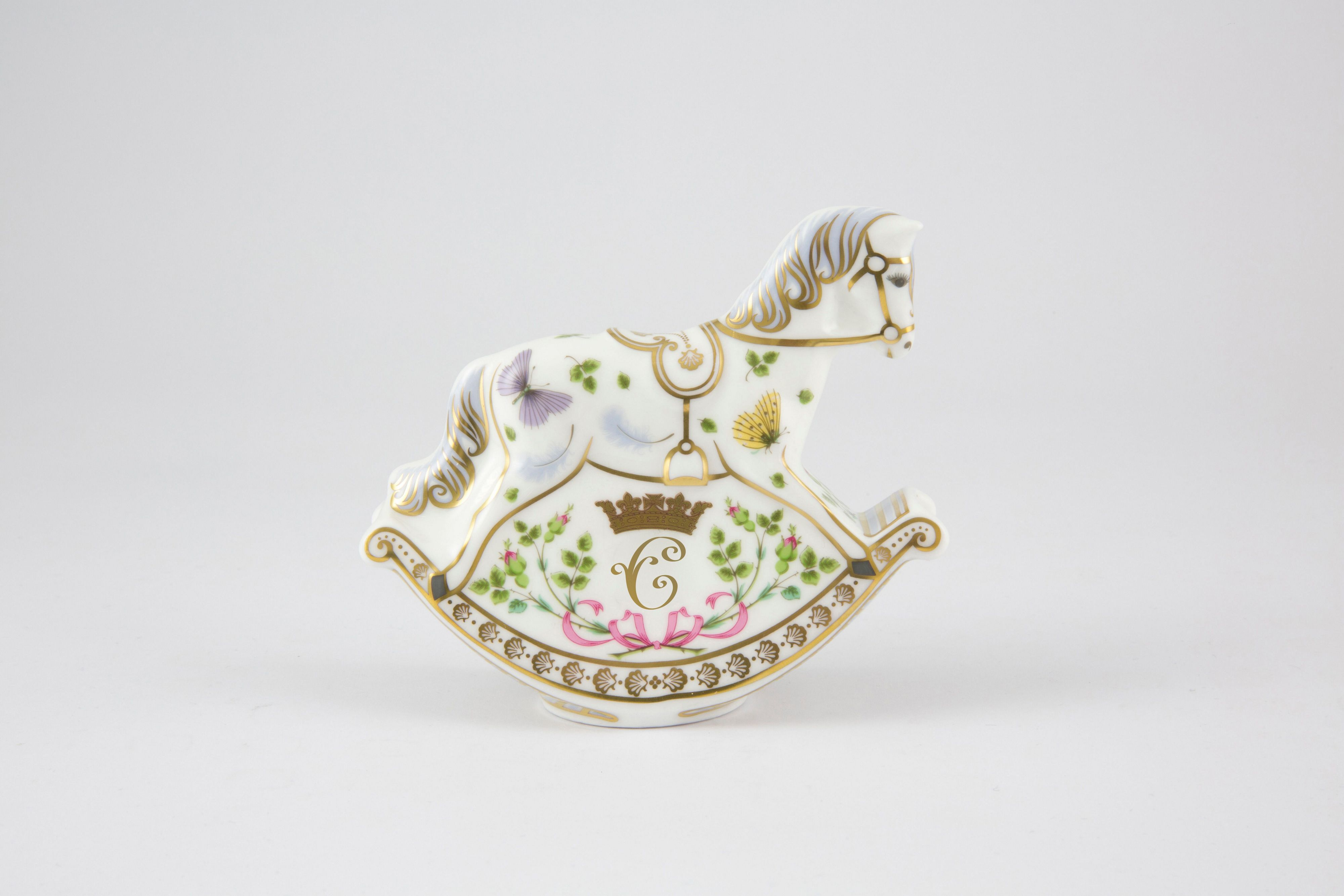 Royal Crown Derby Princess Charlotte rocking horse ornament