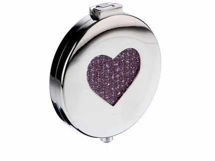 Arthur Price Silver plated pink heart diamante compact mirror Silver