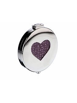 Silver plated pink heart diamante compact mirror