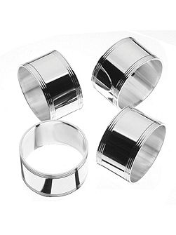 Silver plated set of 4 napkin rings