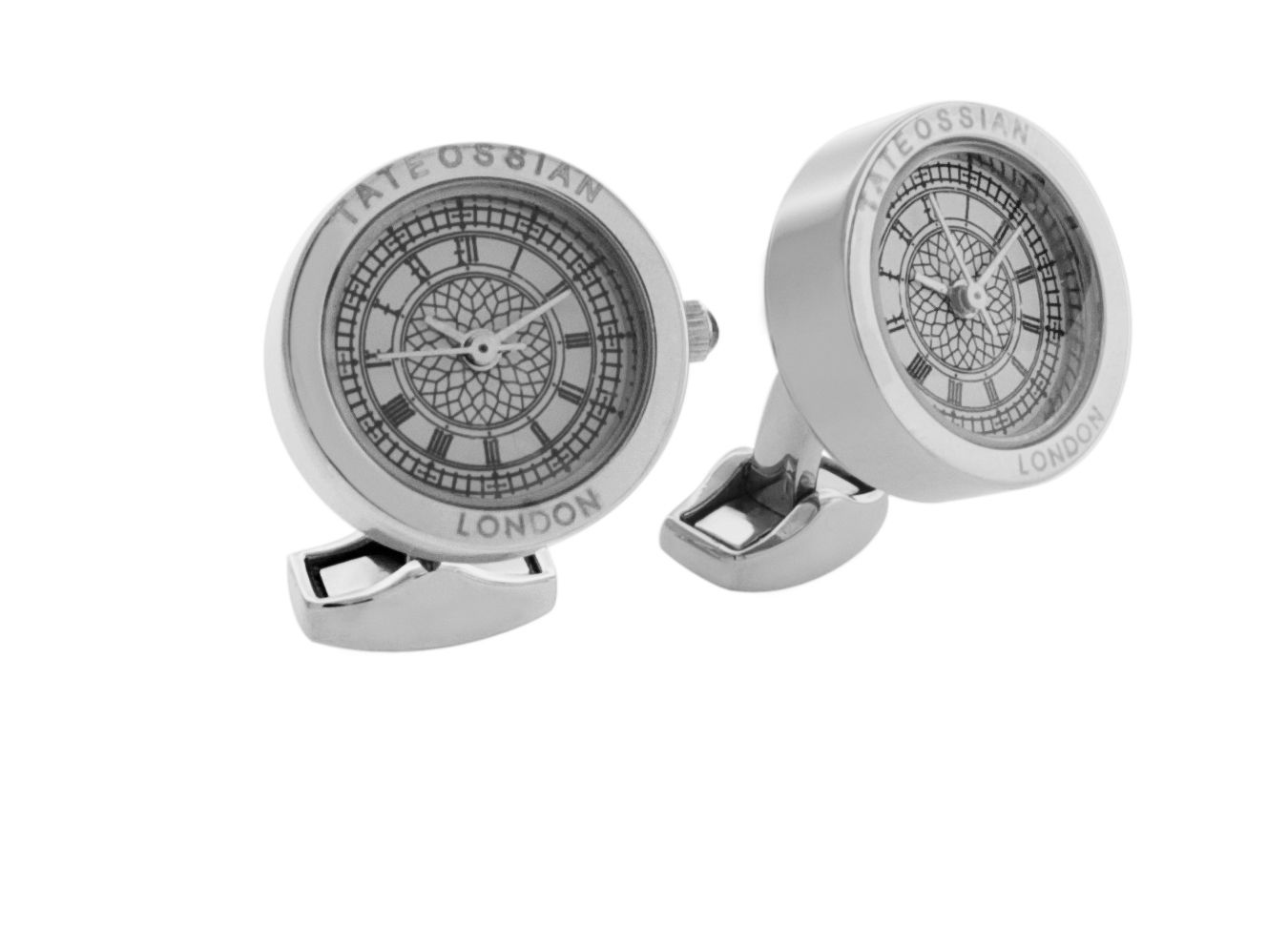 Tateossian Tateossian Stainless Steel Stainless Steel Plated Cufflinks, White