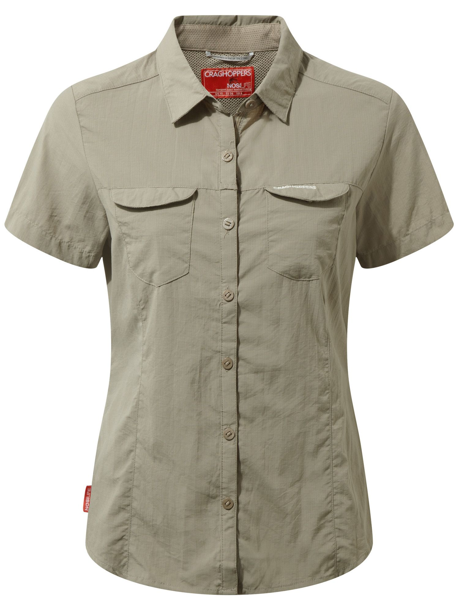 Craghoppers NosiLife Adventure Short Sleeved Shirt, Mushroom