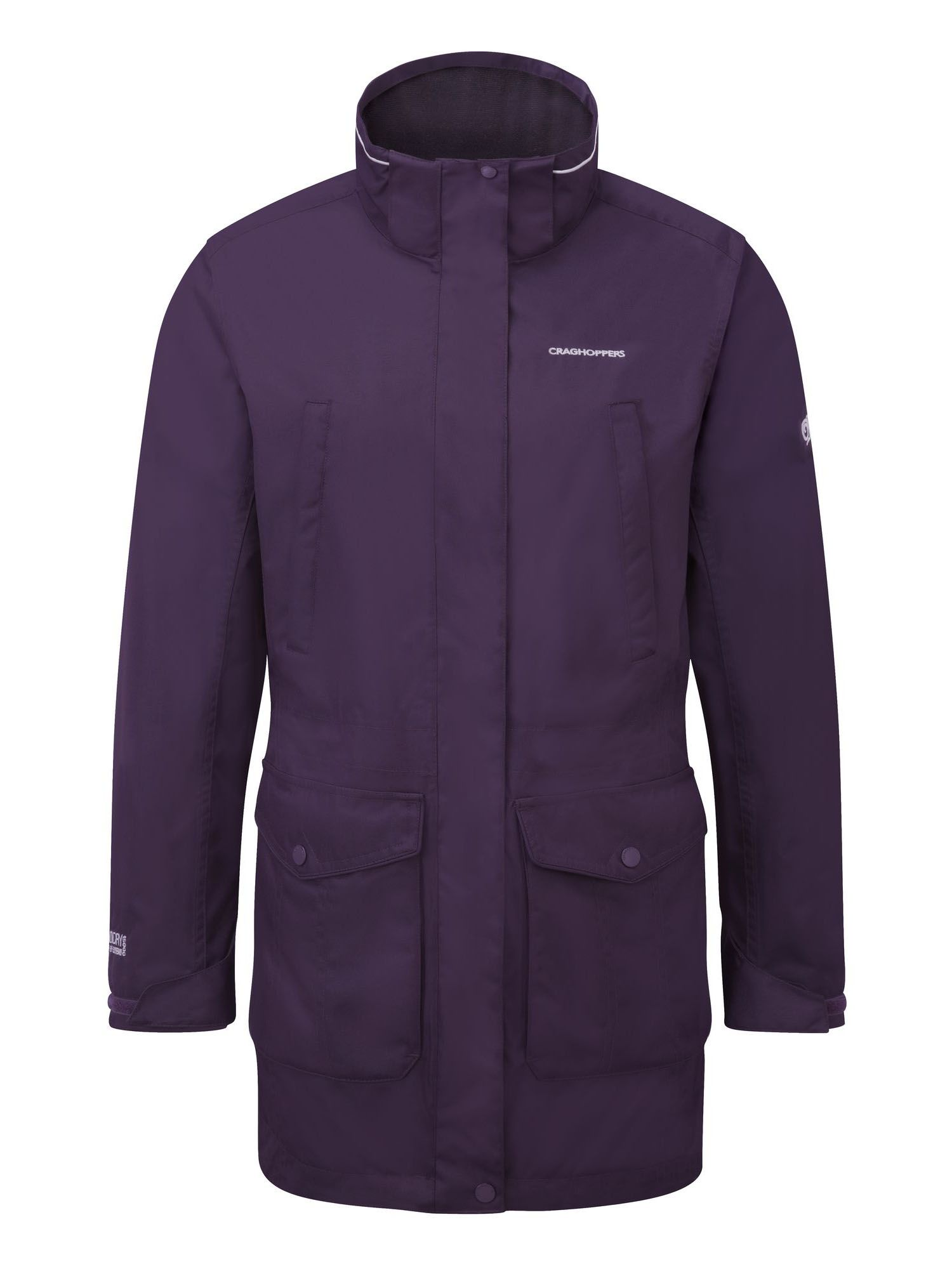 Craghoppers Madigan III Long Waterproof Jacket, Dark Purple