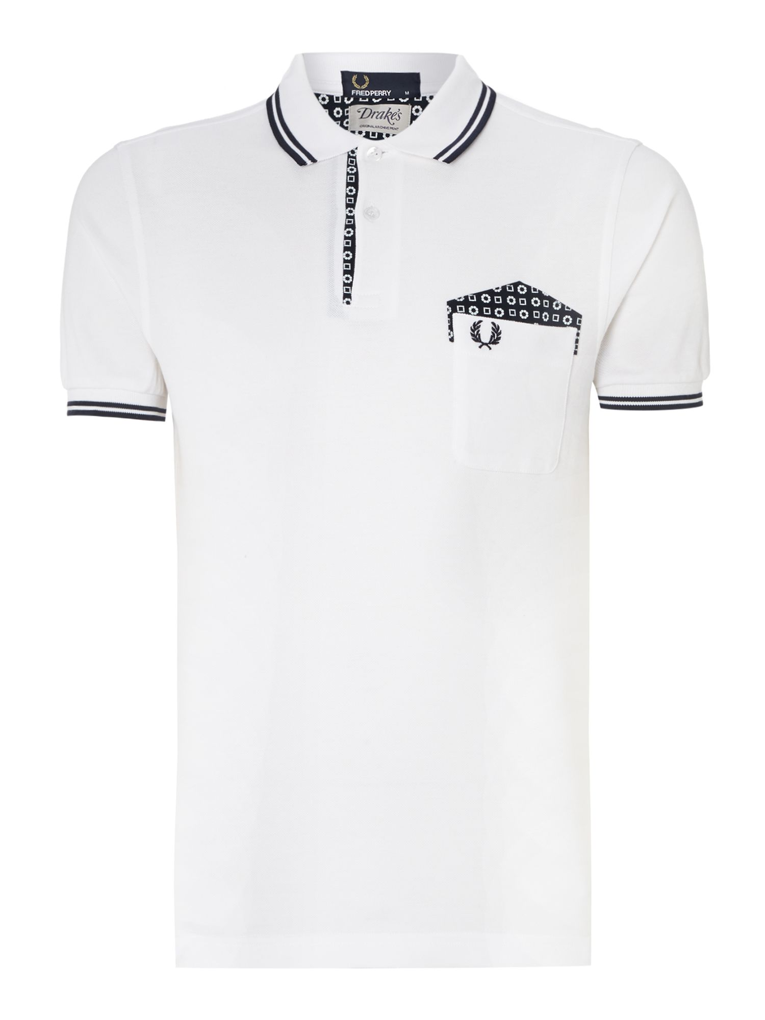 Drakes medallion trim short sleeve polo