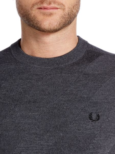 Fred Perry Textured argyle knitted crew