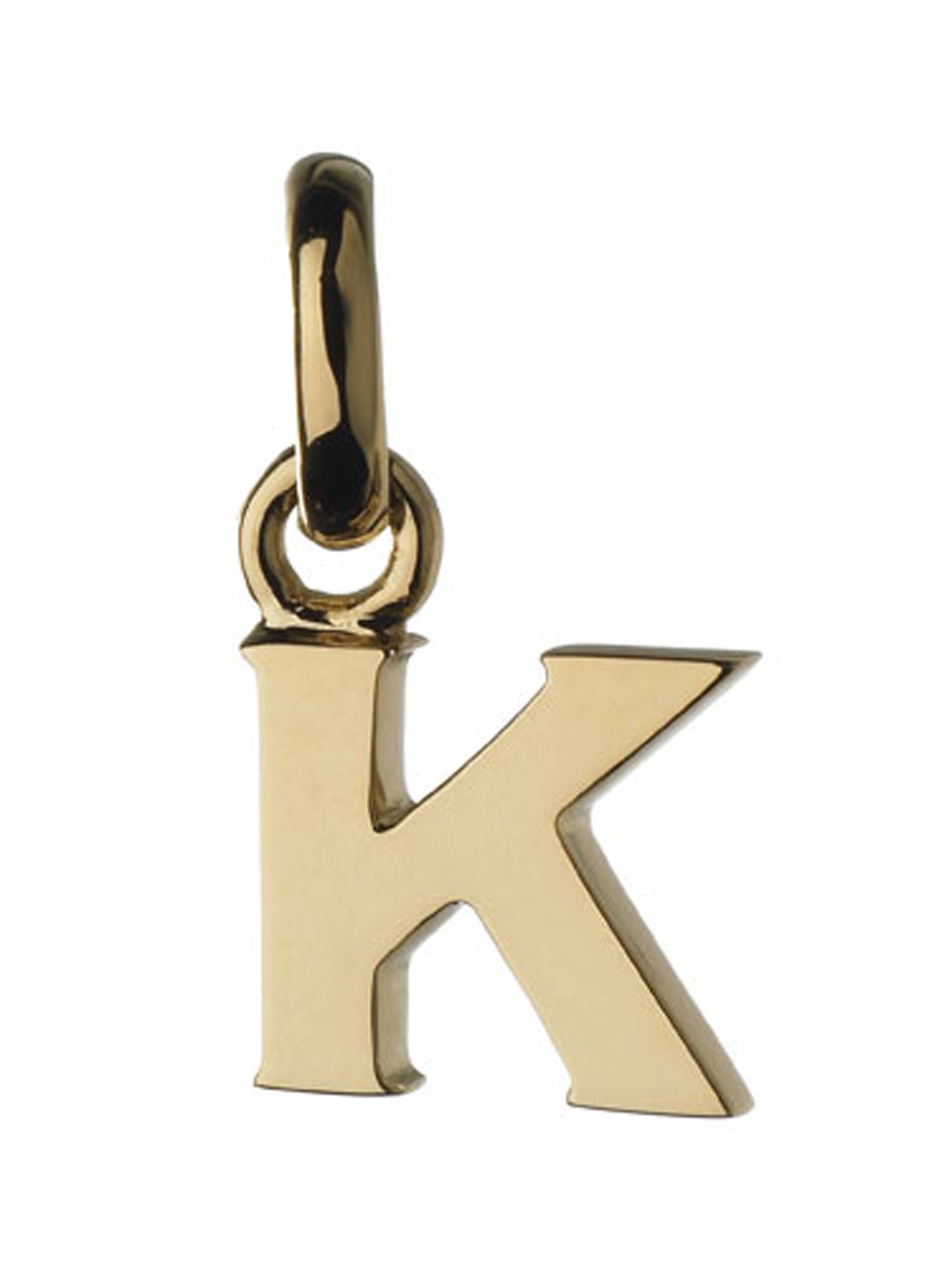 Alphabet k charm 18ct gold
