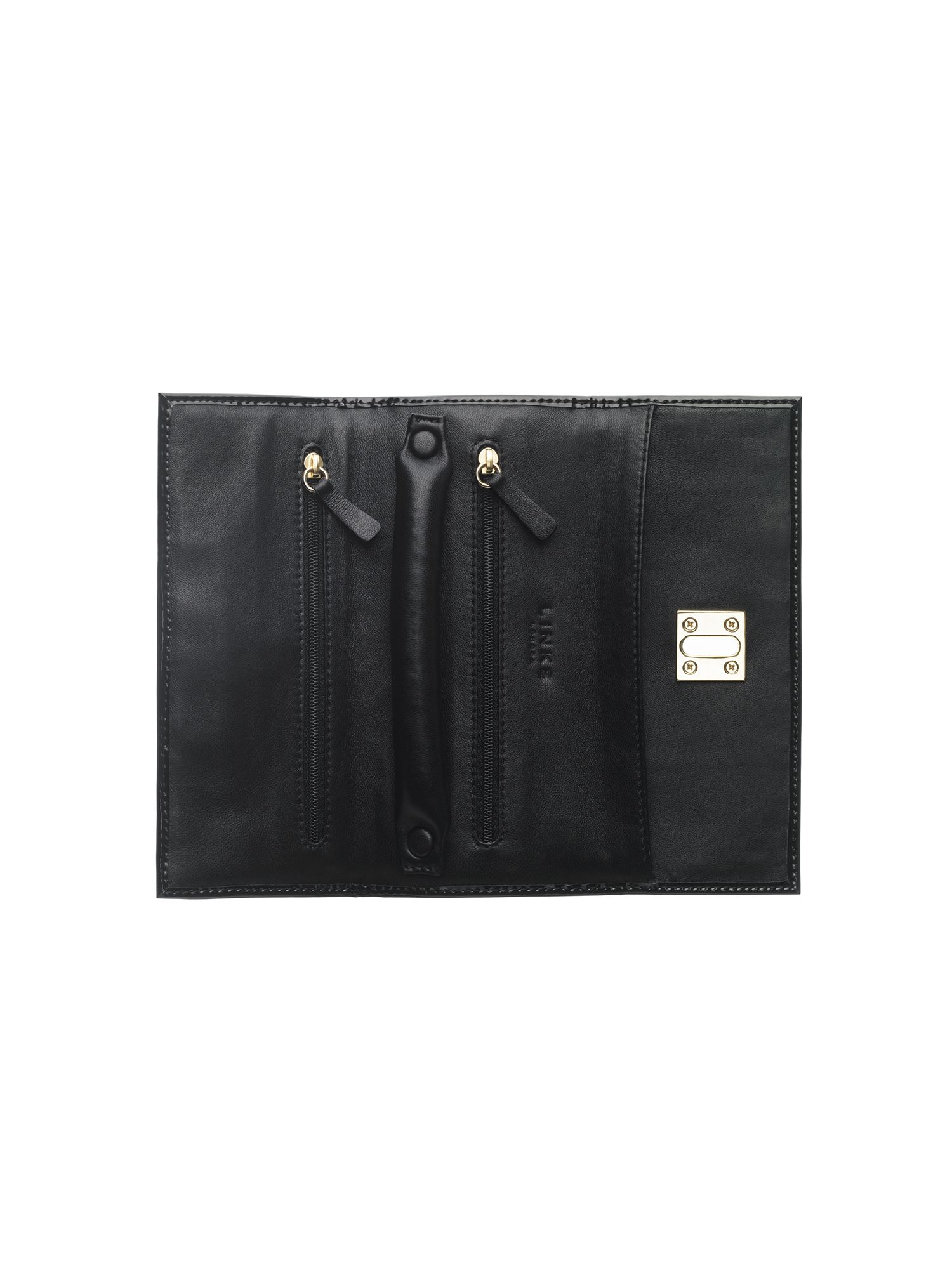 Patent black jewellery roll