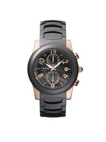 Phoebe Black and Rose Gold Watch
