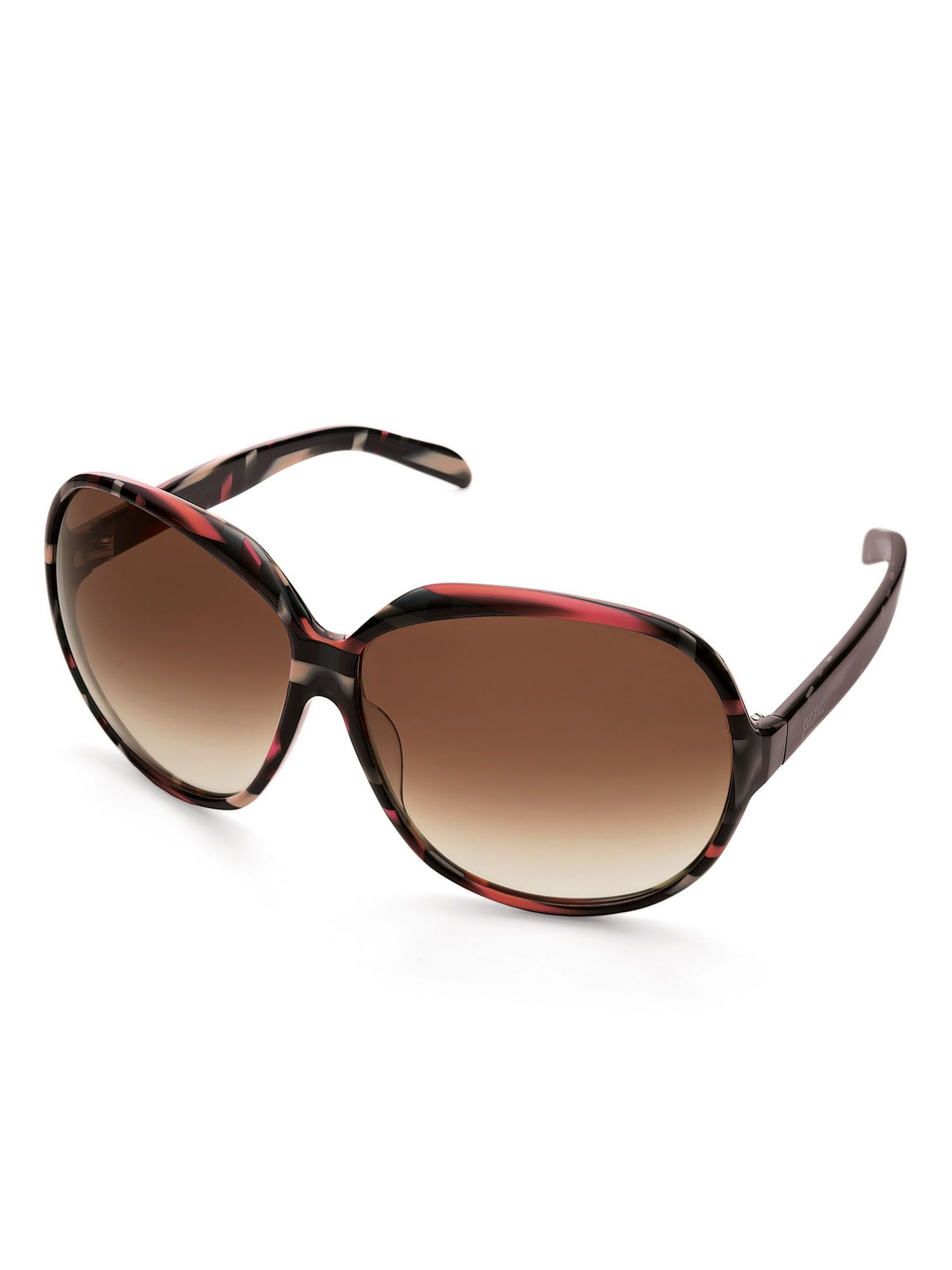 Ladies Dark Multi Round Sunglasses