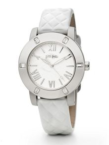 Folli Follie Donatella Watch with White Leather Strap