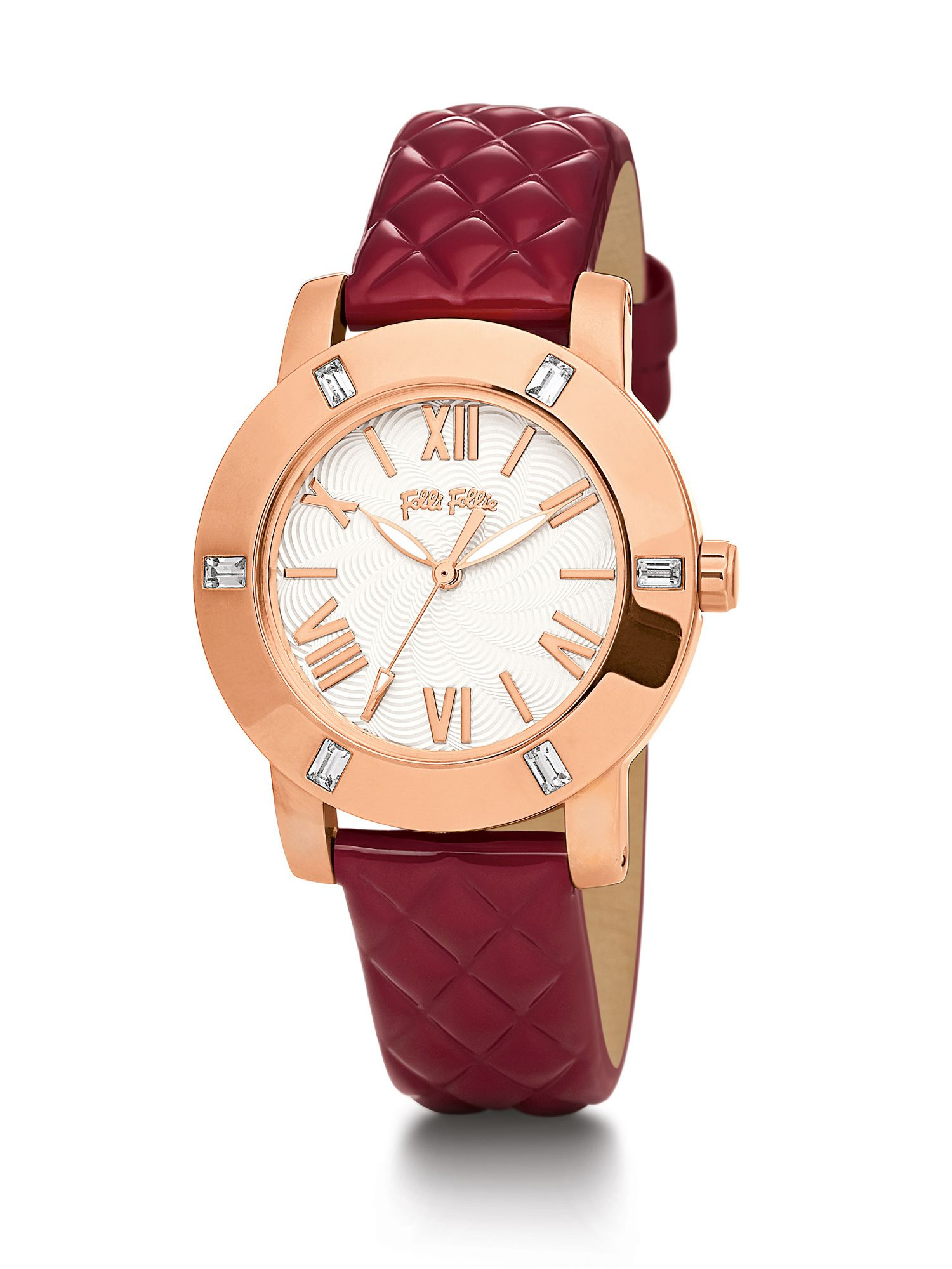 Folli Follie Donatella Watch with Red Leather Strap, Red