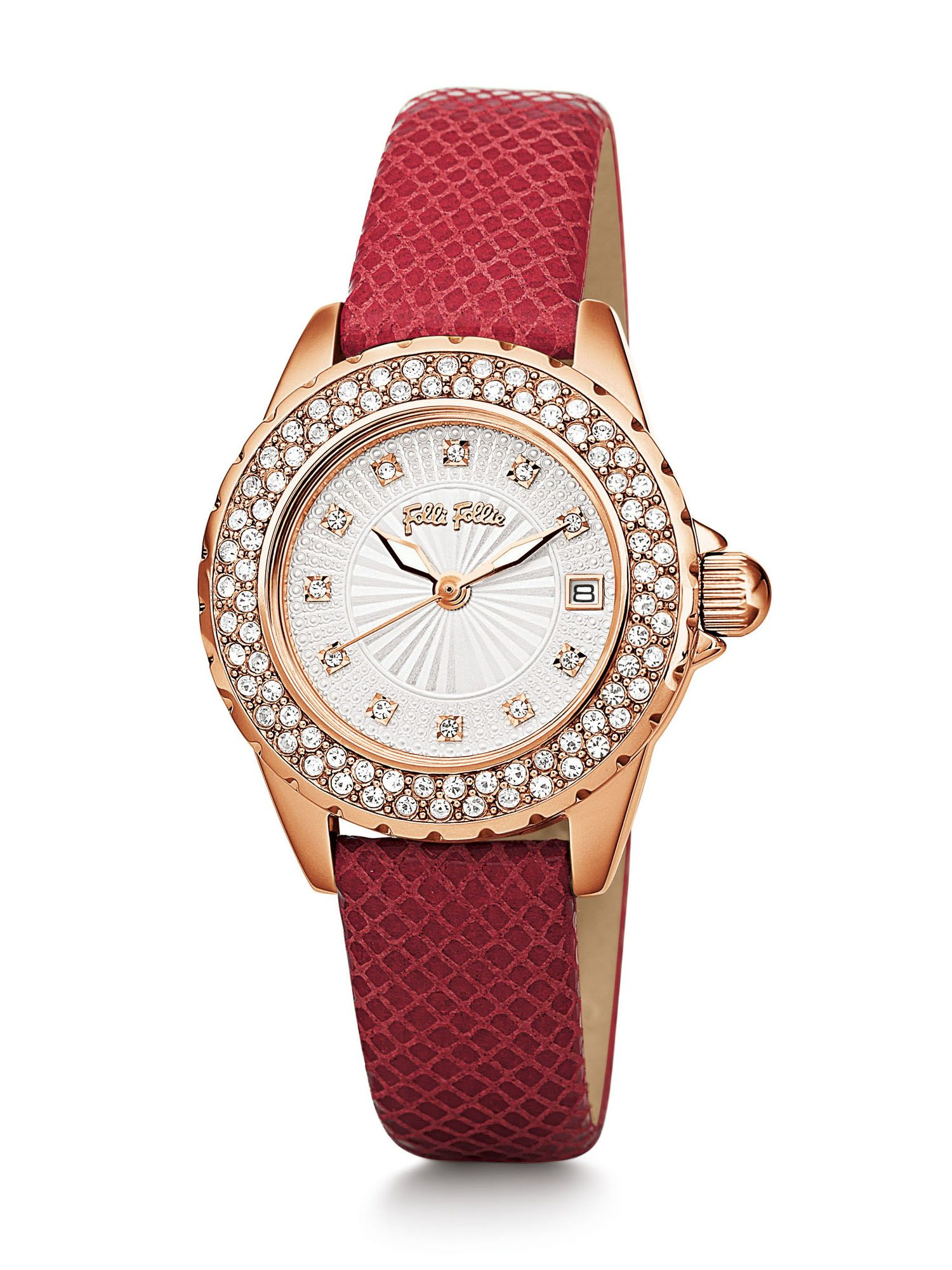 Folli Follie Day Dream Watch with Red Leather Strap, Red