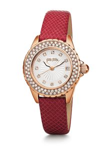 Day Dream Watch with Red Leather Strap