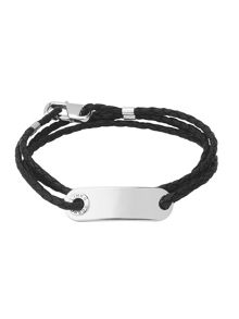 Men`s Soho ID Bracelet with Leather Cord