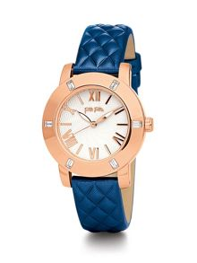 Donatella Watch with Blue Leather Strap