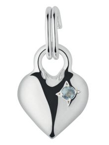 Mini Heart Aquamarine Charm