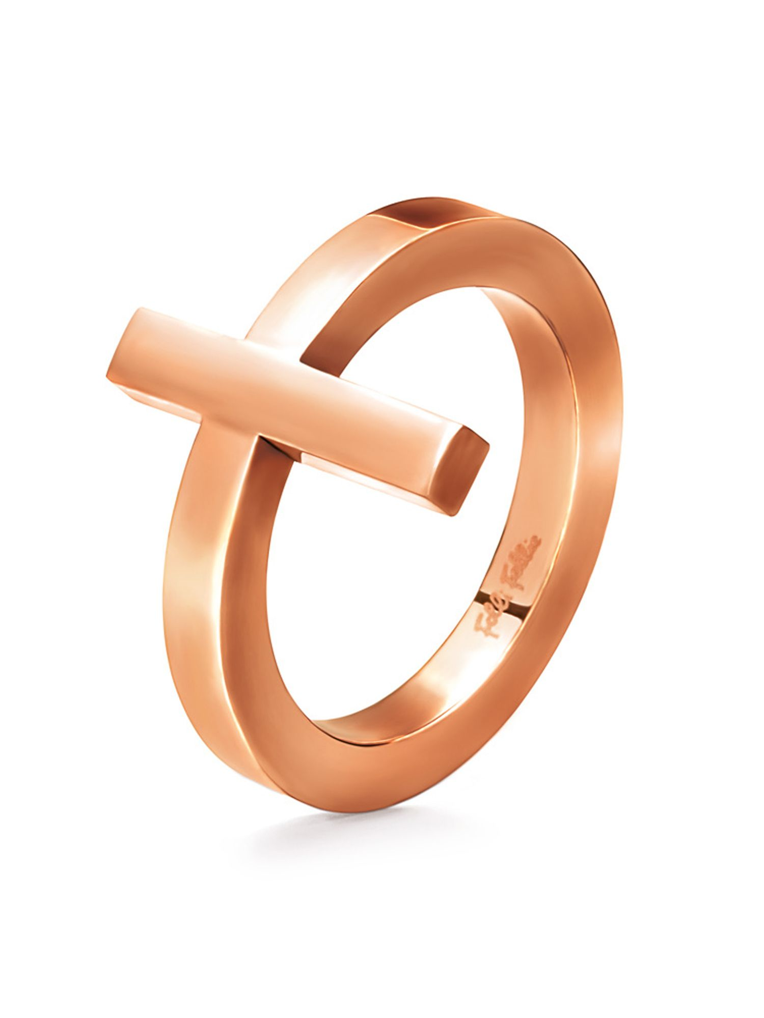folli follie karma rose gold ring 54