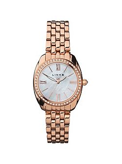 Bloomsbury rose gold & crystal watch