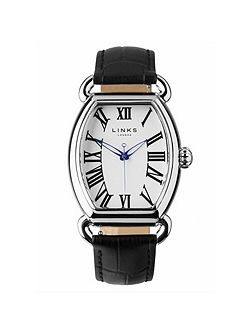 Driver ellipse black leather watch