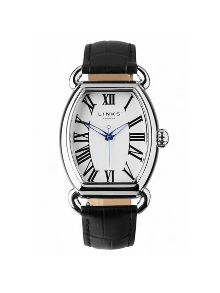 Links of London Driver ellipse black leather watch