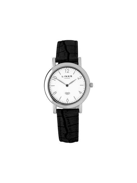 Links of London Noble slim black leather watch
