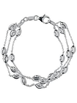 Beaded Chain 3 Row Bracelet-L