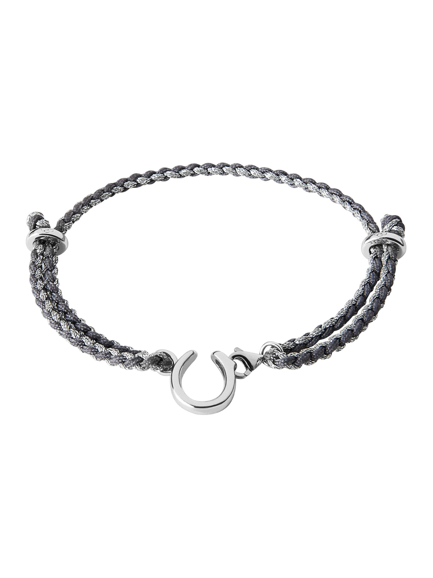 Charm catcher horseshoe bracelet silver & grey