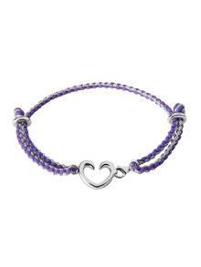 Charm catcher heart bracelet silver & purple
