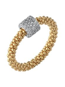 Star Dust Yellow Gold Bead Ring
