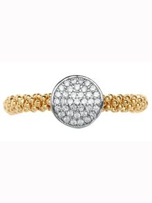 Star dust yellow gold round ring