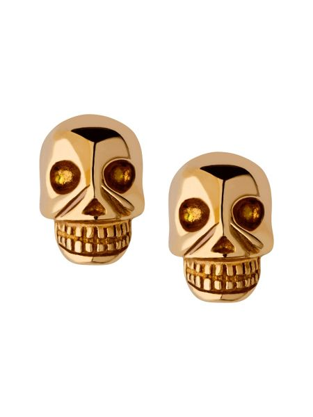 Links of London Yellow gold vermeil mini skull stud earrings
