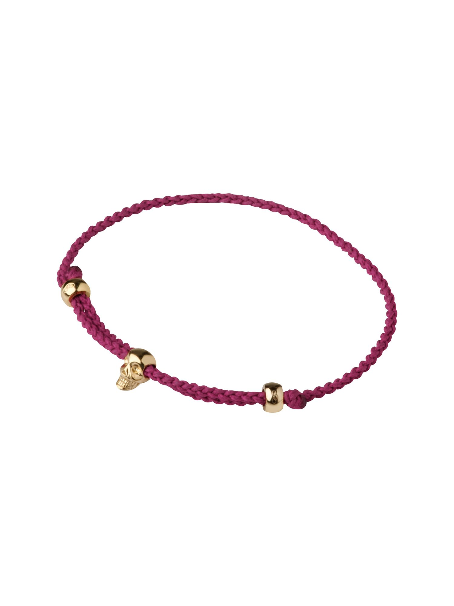 Yellow gold vermeil mini red skull cord bracelet