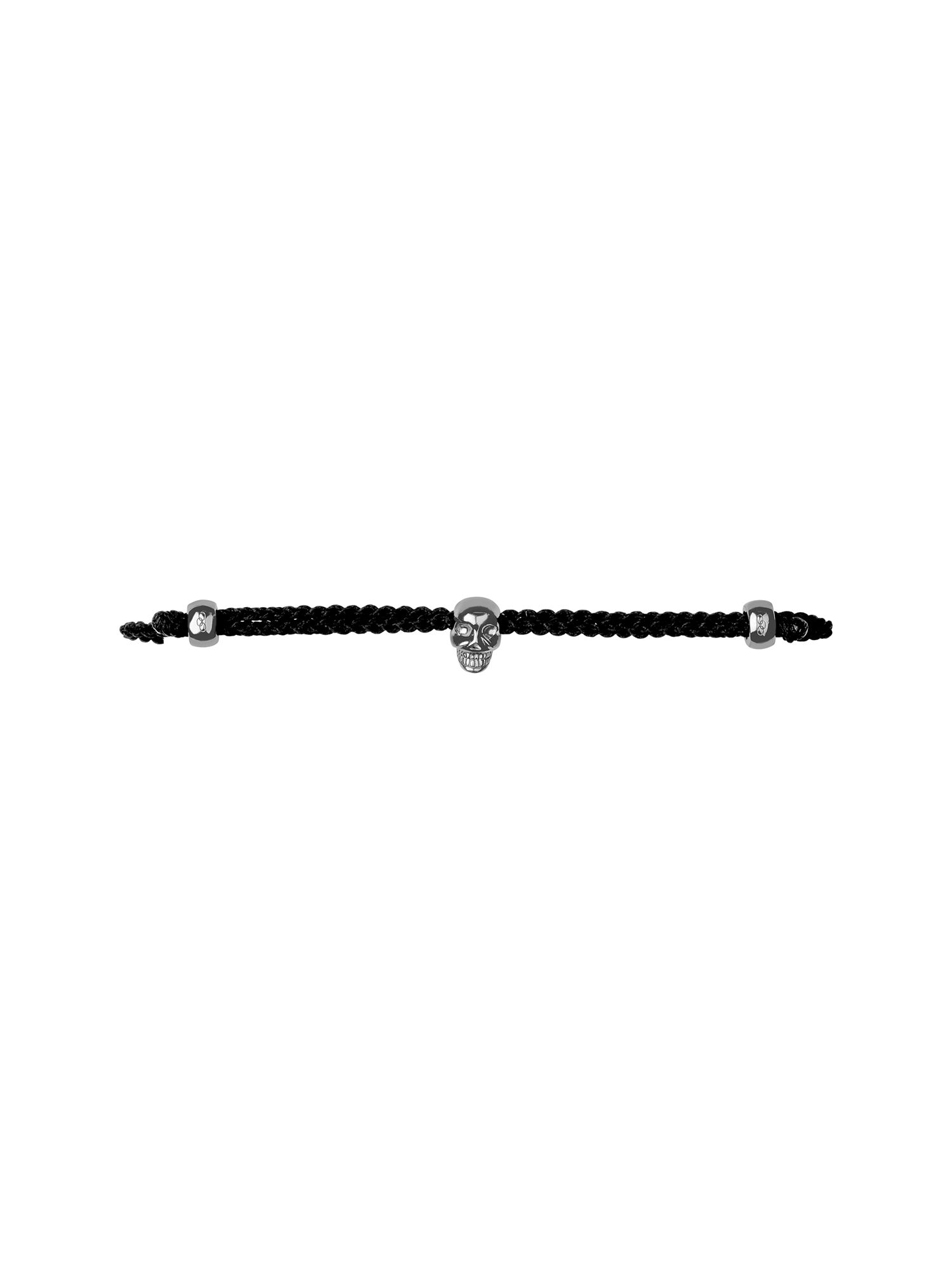 Mini black oxidised skull cord bracelet