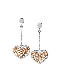 Dream catcher heart rose gold earrings