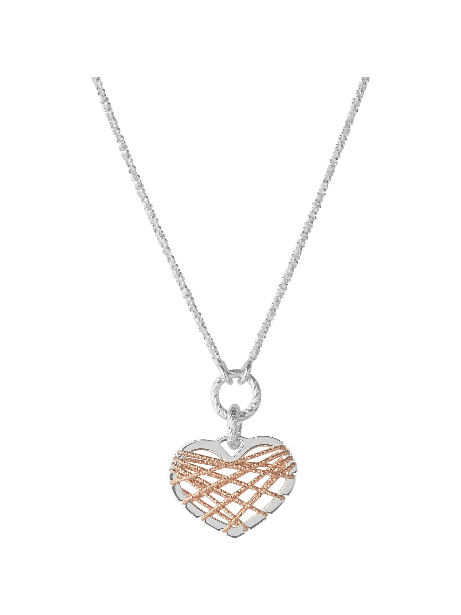 Dream catcher heart rose gold pendant