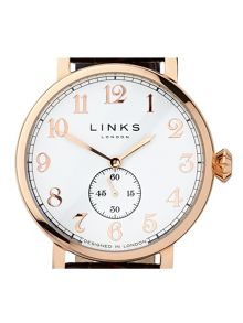 Links of London Greenwich Gold Plated Brown Strap Watch