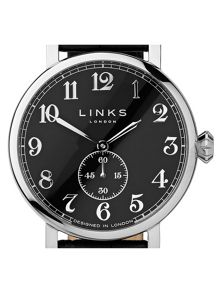 Links of London Greenwich Black Dial Black Strap Watch