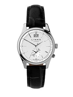 Regent Silver Dial Black Strap Watch