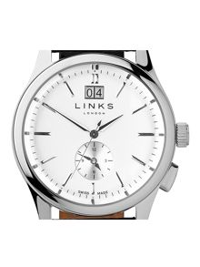 Links of London Regent Silver Dial Black Strap Watch