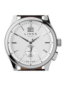 Links of London Regent Silver Dial Brown Strap Watch