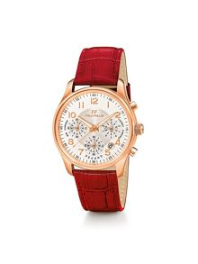 Folli Follie TIMELESS ROSE GOLD RED STRAP WATCH